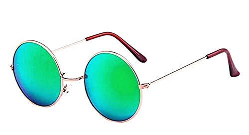 Gafas de sol con espejo redondo mujer - hombre - retro - montura de metal - color dorado - lente verde - uv 400 polarizado - primavera - otoño - invierno - verano