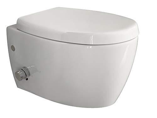 Aqua Bagno | WC Taharet | Avec siège à fermeture amortie et vanne | WC suspendu | WC avec fonction...