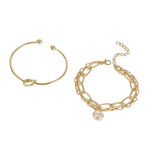 ZSDFW Pulsera de 2 piezas con perlas artificiales para mujer, niñas, accesorios de regalo