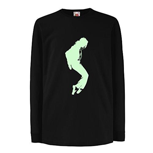 Camisetas de Manga Larga para Niño Me Encanta MJ - Ropa de Club de Fans, Ropa de Concierto (3-4 Years Negro Fluorescente)