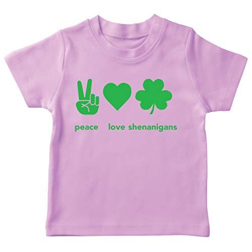 lepni.me Camiseta para Niños Paz y Amor Shenanigans Regalo para la Fiesta del Día de San Patricio en Irlanda (9-11 Years Rosado Multicolor)