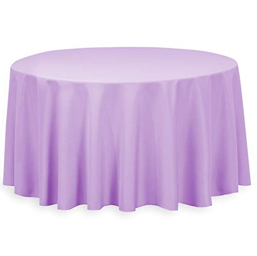 LinenTablecloth 120-Inch Round Polyester Tablecloth Lavender