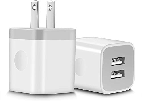 USB Wall Charger, WITPRO 2-Pack 2.1A Dual Port USB Plug Charging Block Cube Compatible with iPhone 12/12 Pro Max / 11 Xs/XR/X 8/7/6 Plus/5S, Samsung, Moto, Google Pixel, Android Phone More (White)
