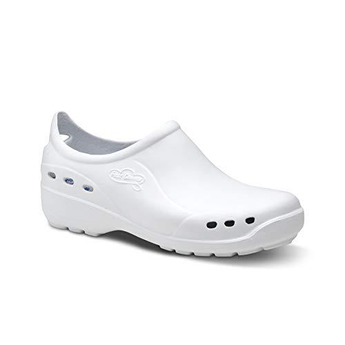 Feliz Caminar - Zapato Sanitario Flotantes Shoes Blanco, 37 | Zueco Cerrado Unisex Antideslizantes y Cómodos para Hombre y Mujer | para Trabajo en Industria, Sanidad, Hostelería, Clínicas