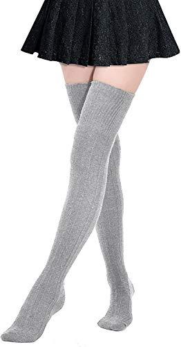 DRESHOW Kniestrümpfe Overknee Strümpfe Lange Gestreifte Socken Beinwärmer Schenkel Socken für Damen und Mädchen