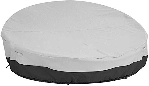 wide smile Round Patio Daybed Cover Waterproof Round Rattan Garden Furniture Cover Breathable Oxford Fabric Outdoor Daybed Sofa Protective Cover 228x216x40/83cm, Grey