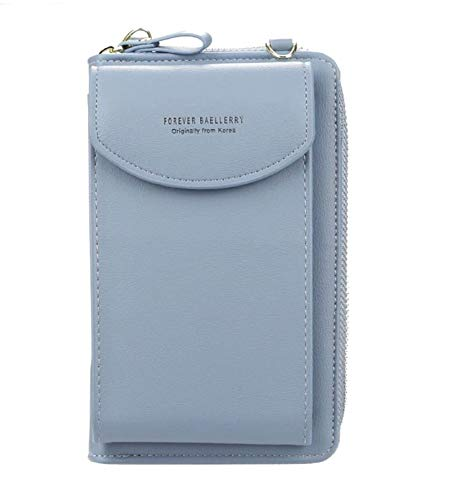 Modische Handy Tasche Geldbörse für Damen, große Kartenfächer, Handtasche, einfarbig, diagonale Tasche, Multifunktions-Clutch mit Reißverschlusstasche (Azurblau)