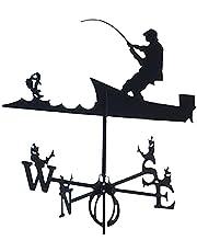WJR Decoratieve windwijzer Weerwijde Garden Mount Yard Stake, roestvrijstalen weer van de boerderij Duurzame scène - Zwart, windrichtingindicator