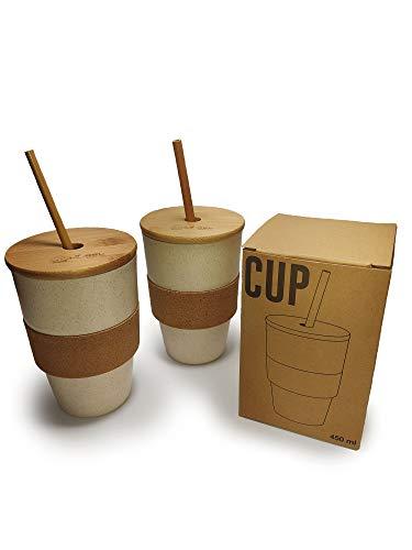 Pack 2 Vasos de Fibra de Bambú y Corcho con Tapa y Pajita, Alto y Largo para Refrescos, Agua, Bebida Fría, Batidos, Granizados o Smoothies - 450 ml