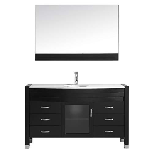 Virtu USA Ava 55 inch Single Sink Bathroom Vanity Set in Espresso w/Round Undermount Sink, White Engineered Stone Countertop, Single Hole Polished Chrome, 1 Mirror - MS-5055-S-ES