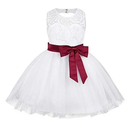 iiniim Baby Mädchen Kleid Prinzessin Kleid Hochzeit Blumenmädchenkleid Taufkleid Festlich Tutu Kleid Geburtstag Partykleid Babybekleidung Gr.62-92 Weinrot 62-68