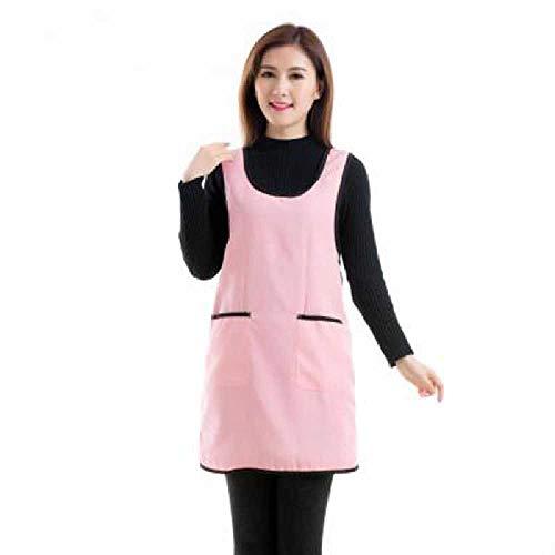 wangtao Mouwloze Schort Restaurant Coffeeshop Werkkleding Huishoudelijke Keukenschort Met Zakvest Meisje Dames Schort Jurk Serveerster OneSize/roze
