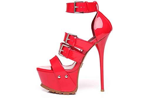 GIARO High Heels in Übergrößen Rot Sienna Red Red Shiny große Damenschuhe, Größe:46