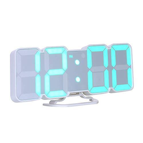 Decdeal Wecker Digital RGB LED USB Tischuhr 3D Wanduhr 115 Farbvariable mit Fernbedienung Sprachsteuerung Zeit Temperatur Datum Anzeige