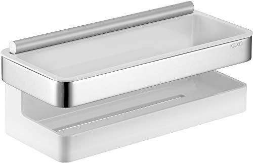 KEUCO Duschkorb aus Metall hochglanz-verchromt und Kunststoff weiß, inkl. Glas-Wischer, bruchfest, 16x24x11cm, Wandmontage in der Dusche, Moll