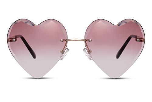 Cheapass Occhiali da Sole Metallici Senza montatura a Forma di Cuore Montatura d'Oro Lenti Rosa Gradienti Traslucenti UV400 protetti da Donna