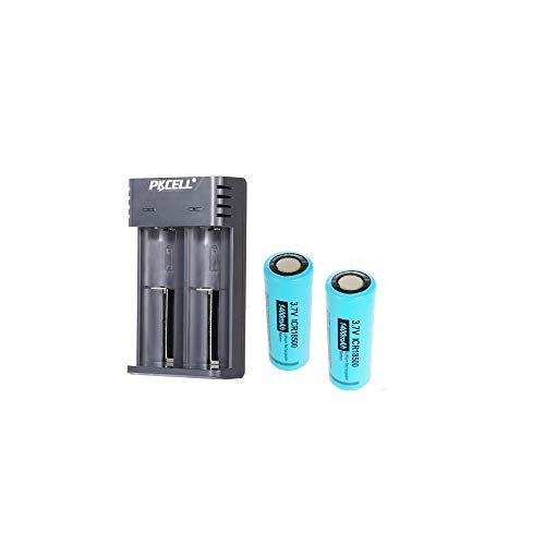 3.7V 18500 Li-Ion Rechargeable Batteries with Flat Top Not Like AAA, AA, C (2pc+Charger)