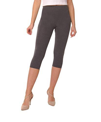 BeComfy Damen Leggings 3/4 Capri aus Baumwolle Viele Größen&Farben Blickdichte Leggins Rot Schwarz Graphit Grau Weiß Blau Rosa Beige (40, Graphit)
