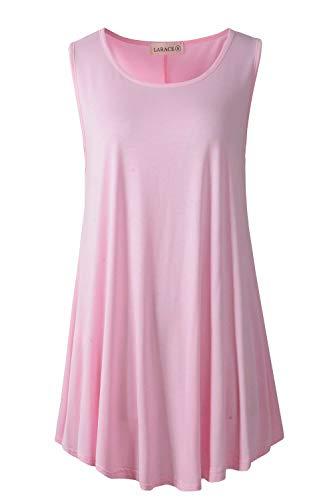 LARACE Women Solid Sleeveless Tunic for Leggings Swing Flare Tank Tops (3X, Pink)