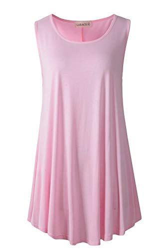 LARACE Women Solid Sleeveless Tunic for Leggings Swing Flare Tank Tops (M, Pink) (Nice Tops To Wear With Skinny Jeans)