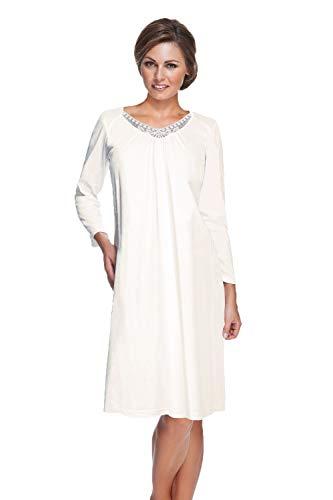 e.FEMME Damen Nachthemd Eva mit Langarm aus Baumwolle mit Modal in der Farbe Ecru in Größe 44