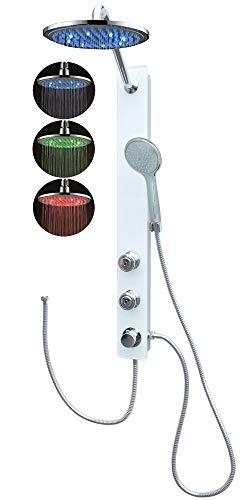 Duschpaneel Glas Led Regendusche Weiss Dusche mit 2 Massagedüsen Duschsystem ohne Armatur