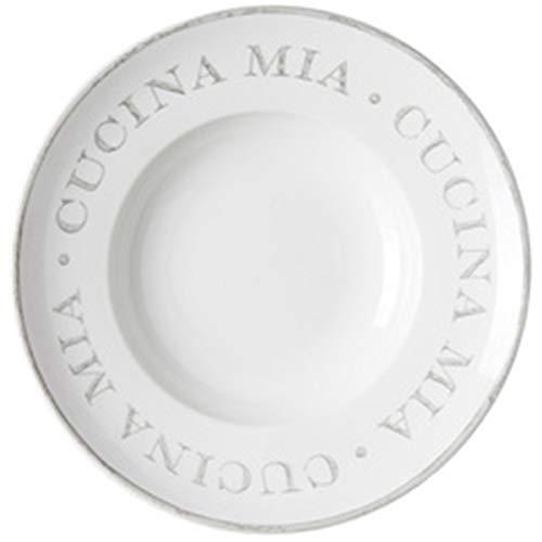 Ritzenhoff & Breker Flirt by R & B Pastateller CASA MIA, 305 mm aus Porzellan, rund, weiß mit grauem Aufdruck - 6 Stück (400014)