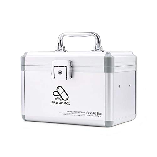 Jinxin-schmuckschatulle Abschließbarer 2-Schicht-Erste-Hilfe-Koffer, haltbarer Aluminiumrahmen-Medizin-Vorratsbehälter für Zuhause, Reise-Arbeitsplatz (Farbe : Silber)