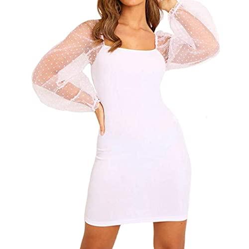 Sexy-Kleid mit Ärmeln, transparent, für Cocktailpartys, für den Sommer, Party, mit quadratischem Ausschnitt und Polka-Ärmeln, Bodycon, Nachtclub, Cocktail, Weiß Large