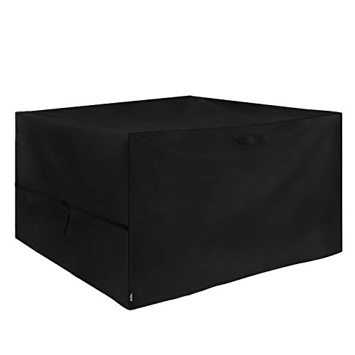 UMI. Essentials Rattan Cube Set Cover Heavy Duty Waterproof Breathable Oxford Fabric Rattan Garden Furniture Cover, 125 x 125 x 74cm Black Amazon Vine