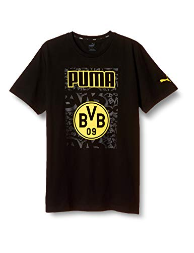 PUMA Herren BVB ftblCore Graphic Tee T-Shirt, Black-Cyber Yellow, L