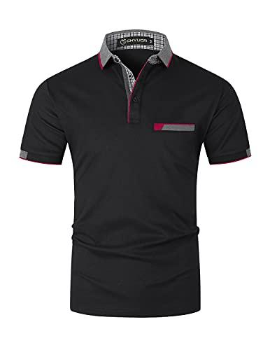 GHYUGR Elegante Polo da Uomo Manica Corta T Shirt Cotone Cucitura Classica Maglietta Commerciale Camicia per L'Ufficio (L, Nero)