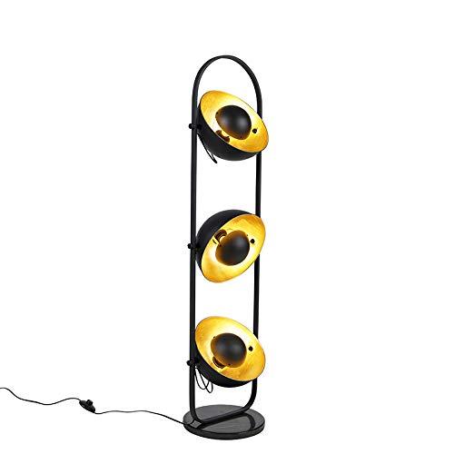 QAZQA Moderno Moderne vloerlamp zwart met goud 3-lichts - Emilienne Novo Piedra/cemento Alargada Adecuado para LED Max. 3 x 60 Watt
