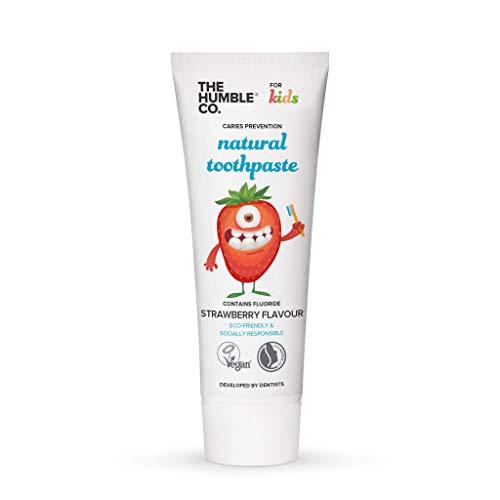 Humble Natural Toothpaste - Zahnpasta - with fluoride - mit Fluorid - Kids strawberry - Kinder Erdbeere - 5 x 75 ml