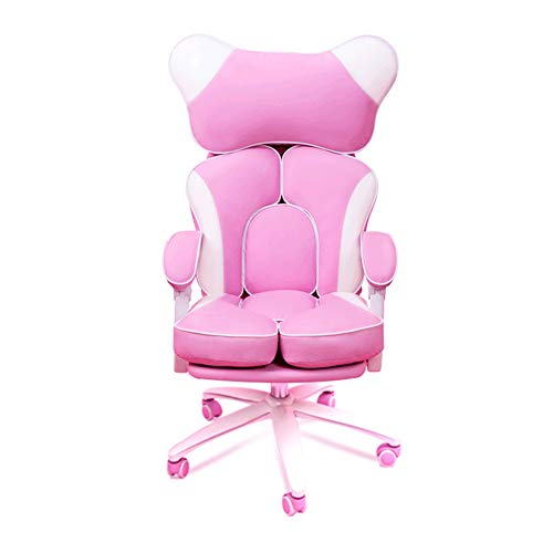 Silla Gaming, Oficina Escritorio Silla con Ruedas Sillas De Juveniles, PC Despacho Ergonomica Racing Chair, Sillón Reclinable Giratorio Ajustable, Reposapiés, PU Rosa,0