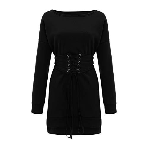 Jersey Suéter Sweater Vestido De Suéter De Manga Larga para Mujer Vestido De Lana Informal De Punto Suelto con Cuello Redondo Sólido Cinturón De Cintura Vestidos De Vendaje M Negro