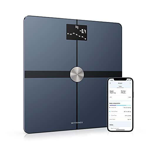 Withings Body+ - Wi-Fi Body Composition Smart Scale, Body Fat Monitor, BMI, Muscle Mass, Water Measurement, Digital Weight Bathroom Scale, Sync App Via Bluetooth or Wi-Fi