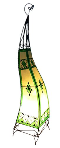 Painted Moroccan Henna Floor Lamp- S Shape Square - Green 100CM