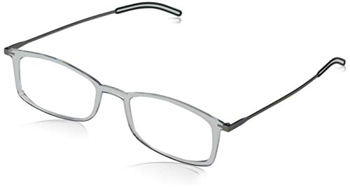 ThinOptics FrontPage Brooklyn Anti-Fog Clear 2.0 with Case Round Reading Glasses, 55mm, 60mm + 2