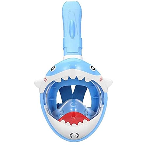 Ruluti Máscara del Tubo respirador niños Cubierta de la Cara Llena de Buceo para niños 180 ° Vista panorámica tiburón Diseño Anti-Niebla Anti-Fugas de Seguridad Snorkel máscara del Salto