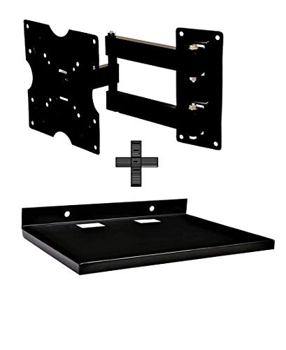 ABKKO Heavy Duty Wall & Ceiling Mounts for 14 to 42 inch LED/LCD TV (Black) with Set Top Box/DTH Stand - Wall Mount Stand/WiFi Router Stand, Black (Ideal for All Type of Set Top Box)