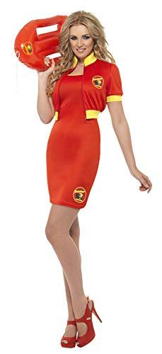 Smiffys-32898M Licenciado Oficialmente Disfraz de Vigilante de la Playa de Baywatch, con Vestido y Cazadora, Color Rojo, M-EU Tamaño 40-42 (Smiffy