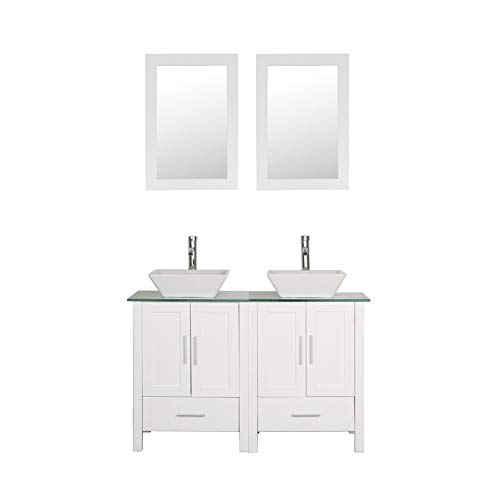 """48"""" Double Sink Bathroom Vanity Cabinet Glass/Marble Top White Wood w/Mirror Faucet and Drain"""