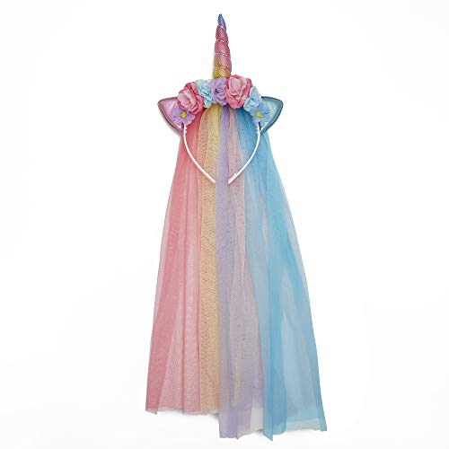 Unicorn Headband With Tulle Mane and Flowers For Adults and Girls (Rainbow Headband) - http://coolthings.us