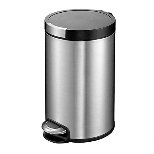 CMmin Miilleimer Homezone-Edelstahl-Küche-Abfalleimer mit Oval Design und Step Pedale, Lagerung mit abnehmbarem Kunststoff-Papierkorb Liner 5L
