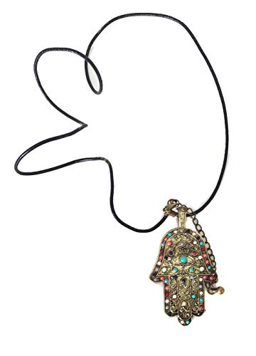 Rak Mark Collar Colgante Mano de Fatima Buena Suerte Amuleto Cinta de Cuero Pedreria