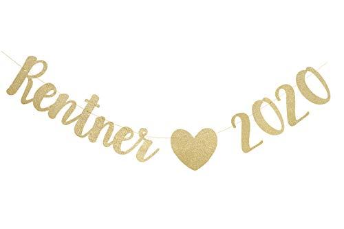 W.2 Rentner 2020 Girlande, Gold, stilvolle Party Dekoration für die Abschiedsfeier, Rente, Ruhestand