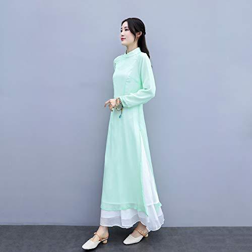 JTKDL Zen-kleding witte Chinese stijl Chinese kleding Cheongsam-jurk vrouwelijke Chinese retro zen-theepak 3-delige set