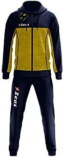 Zeus Tuta Olympia Donna Uomo Relax Passeggio Cappuccio Zip Intera Tasche Laterali Nuovo Modello (3XL, Blu-Giallo)