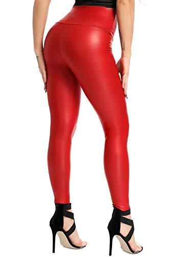 FITTOO PU Leggins Cuero Pantalón Mujeres Elásticos Pantalones para Mujer #2 Rojo XS
